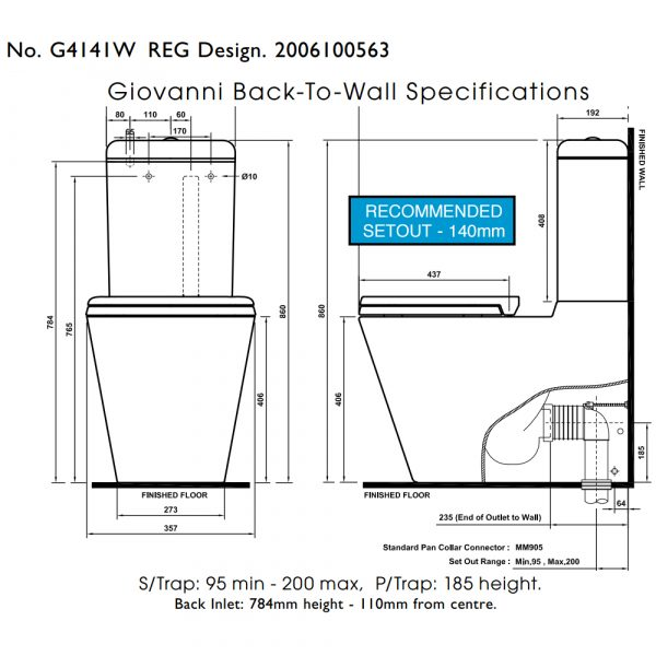 Specifications diagram of Giovanni toilet