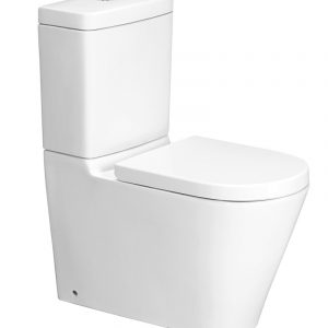 Image of white china wall faced toilet