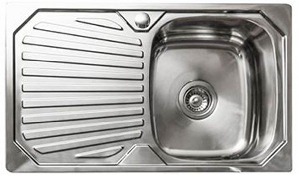 Image of Linkware 800m stainless steel sink with draining board
