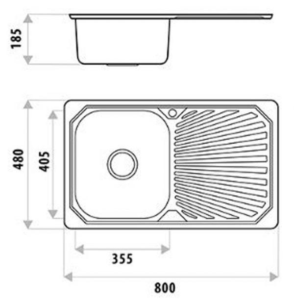 Diagram showing dimensions of Linkware Sydenham stainless steel sink