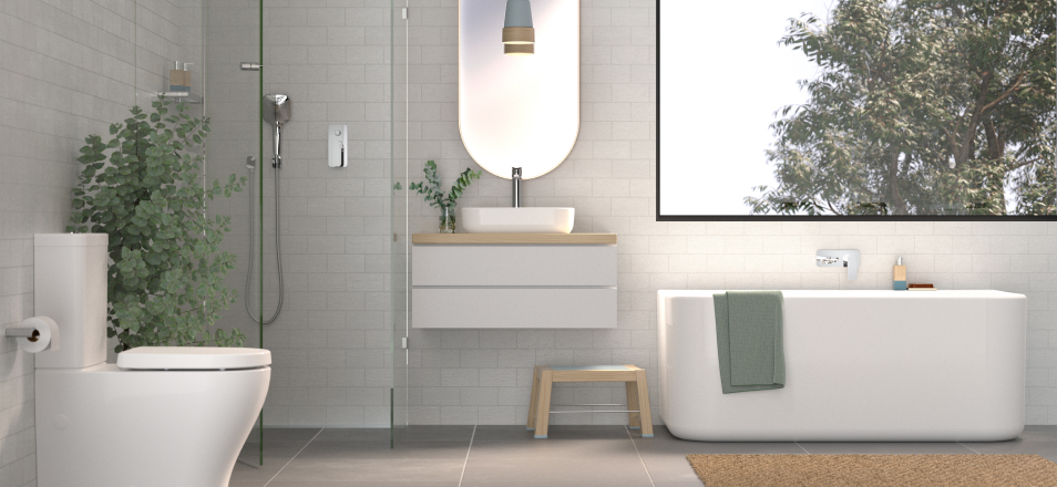 Residential bathroom suite with freestanding bath