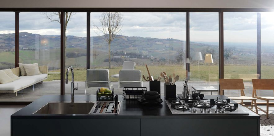 Box kitchen with hinterland views