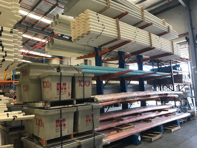 Warehouse stock of pvc plumbing pipes
