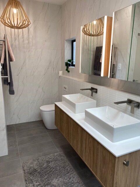 Contemporary bathroom with double vanity